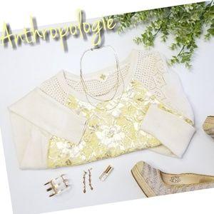 ANTHROPOLOGIE HWR floral metallic cashmere sweater